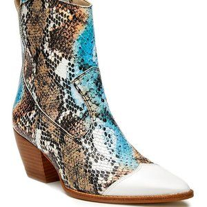 😍Matisse😍White Snake-Print Desire Leather Boot 8